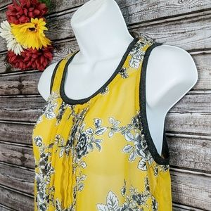 Gibson | Sheer Yellow Floral Mix Media Tank | S